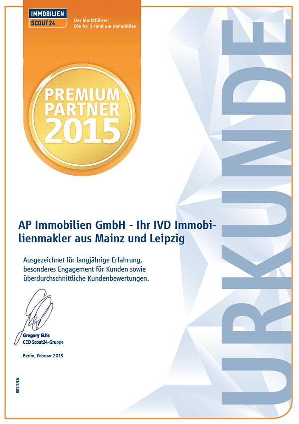 AP Immobilien GmbH - Ihr IVD Immobilienmakler aus Mainz - Immobilienscout24 - Premium Partner 2015 - Urkunde
