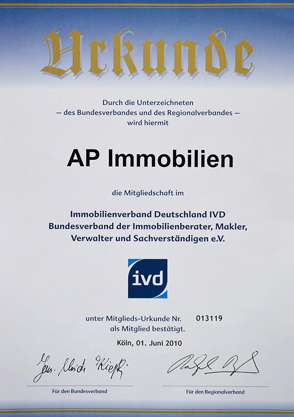 AP Immobilien GmbH - Ihr IVD Immobilienmakler aus Mainz - IVD Urkunde