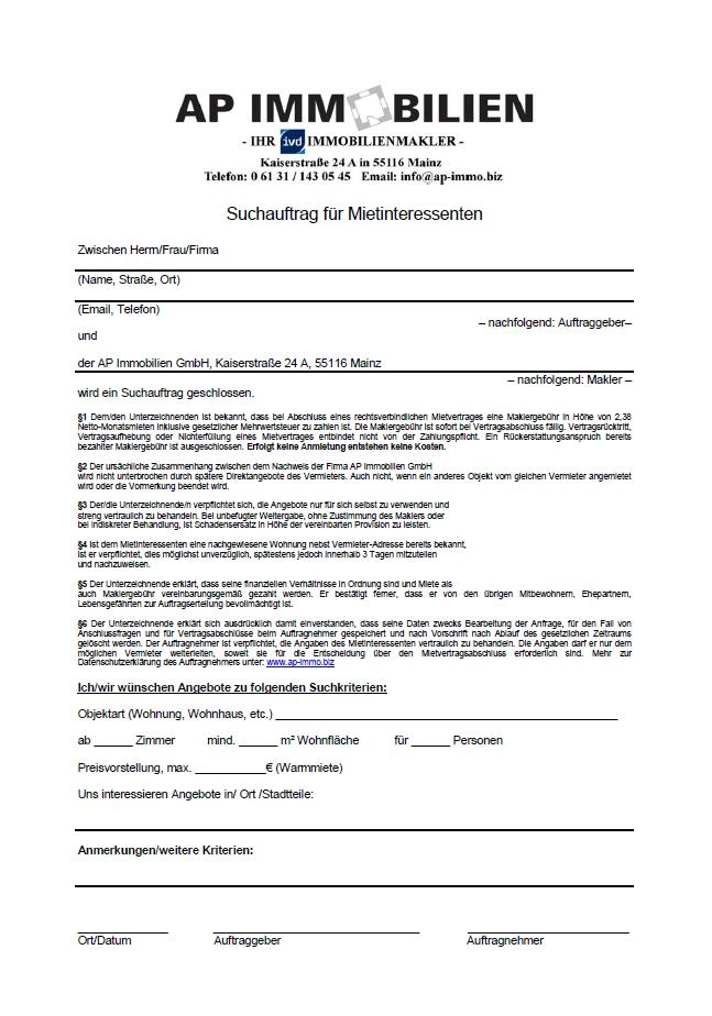 AP Immobilien GmbH - Ihr IVD Immobilienmakler aus Mainz - Suchauftrag für Mietinteressenten