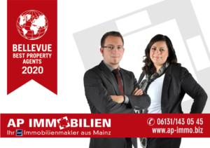 """AP Immobilien GmbH - Ihr IVD Immobilienmakler - BELLEVUE BEST PROPERTY AGENT 2020 (BPA)"""" – Immobilienmakler Mainz - Immobilienverkauf, Immobilienvermietung, Wohnung, Haus, Kapitalanlage, Bewertungen, Rezension, Beurteilung"""